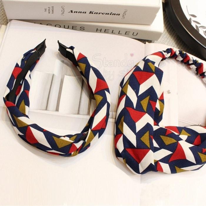 韓款原單 復古彩色幾何菱形格子交叉髮帶頭箍髪卡髮飾頭飾—髮帶款