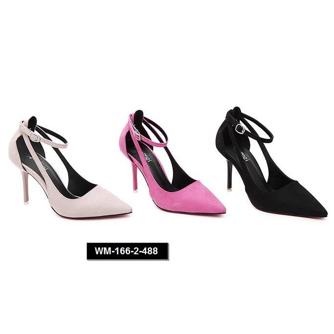 7DORA 高跟鞋尖頭細跟淺口交叉綁帶性感女單鞋縷空絨面低幫鞋
