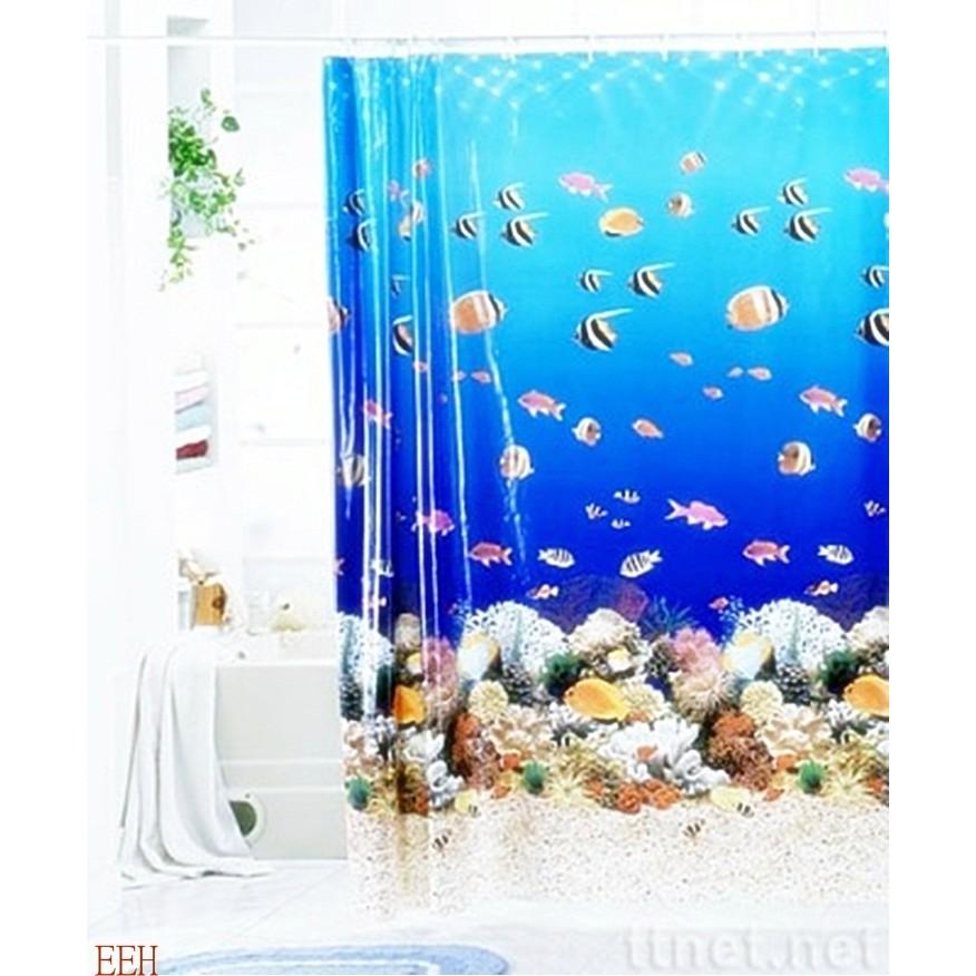 ~嚕啦啦 小鋪~海底圖案PEVA 防水浴簾˙隔間簾、乾溼分離↘120 元180cm 180