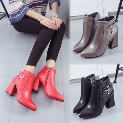 ♛♛♛♛♛♛n2016  短靴子女靴尖頭 粗跟高跟側拉鏈紅色婚鞋短筒