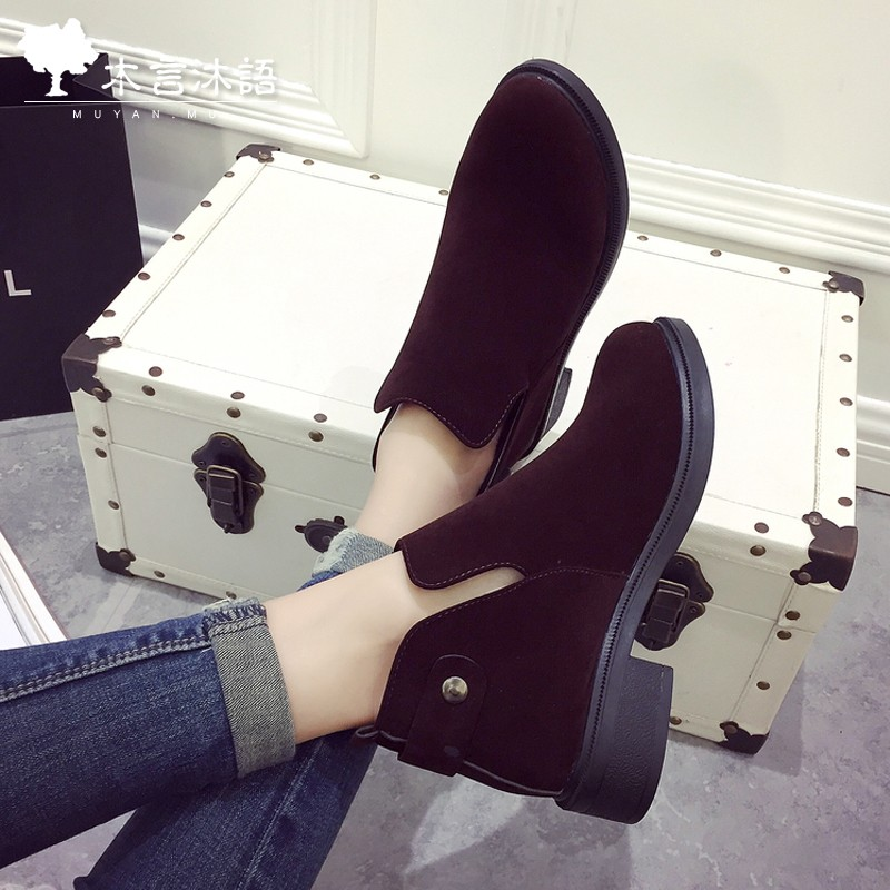 木言沐語女士馬丁靴女英倫風短靴女春秋單靴粗跟皮靴子女鞋 女靴及裸靴