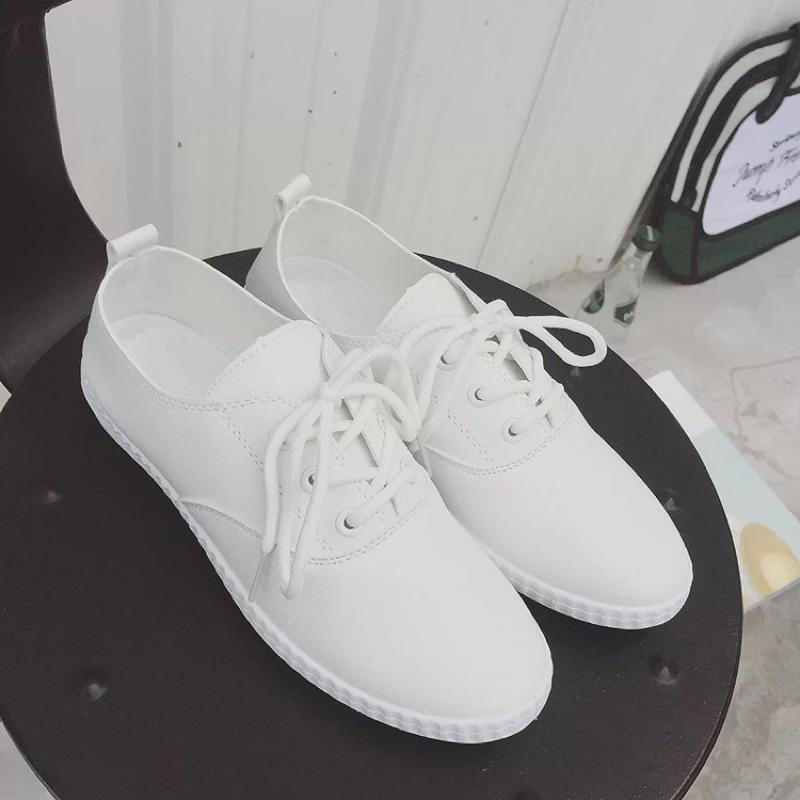 繫帶平底鞋百搭小白鞋休閒 鞋板鞋懶人鞋