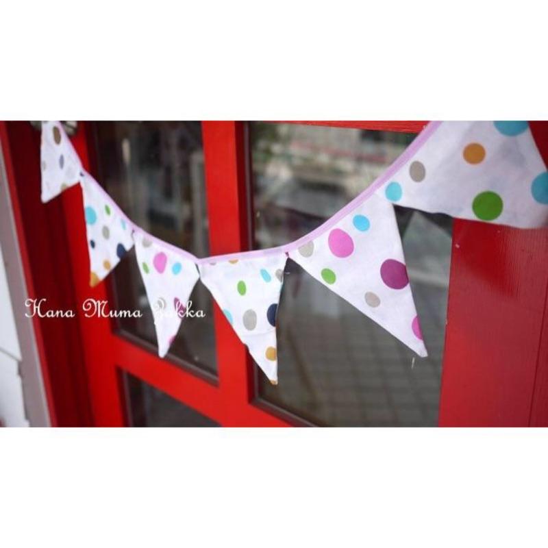 三角旗露營雙面圖案野餐帳篷慶生派對星星三角布旗點點裝飾白色蕾絲碎花小花粉紅色美式星星藍紅色