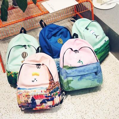 包包日韓 小清新學生書包休閒後背包雙肩包熱氣球動物背包 帆布背包女士包包