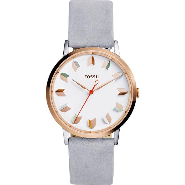 ~FOSSIL ~Vintage 活力女孩 腕錶玫瑰金灰色錶帶箭頭刻度39mm ES405