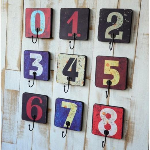 工業北歐鄉村復古仿舊木製數字圖案單鉤衣帽掛勾餐廳酒吧咖啡廳居家裝飾