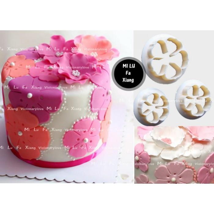 麋路花巷~3PCS 小玫瑰花無柄切模翻糖蛋糕模具巧克力模黏土模果凍模麵包花模母乳皂模