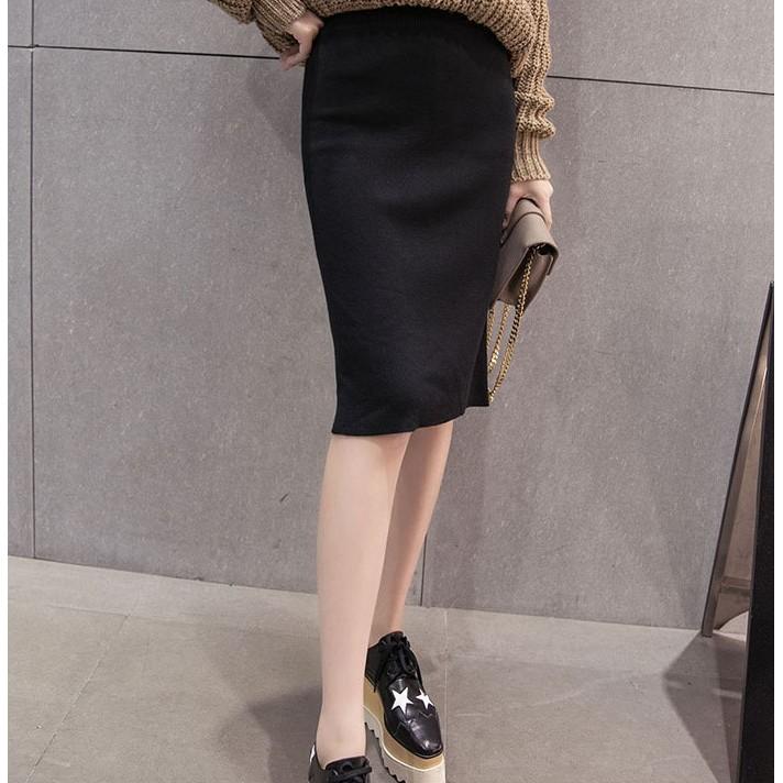 MMC ZARA 款 性感後開叉緊身合身彈性包臀修身顯瘦素面純色細針織及膝裙窄裙鉛筆裙半身