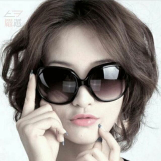 ~T3 ~韓國 款女生太陽眼鏡三個亮黑色附眼鏡盒女款眼鏡墨鏡遮陽 休閒款日韓街拍~I08