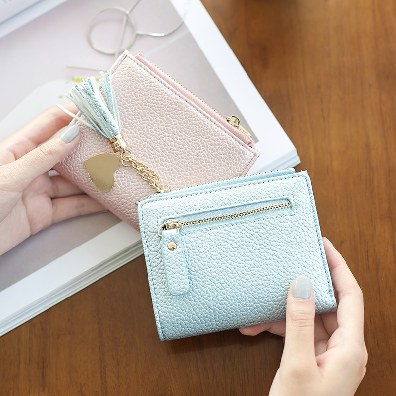 最 丶長款錢包 2016 夏款錢包女短款 流蘇搭扣兩折女式錢夾拉鏈零錢包