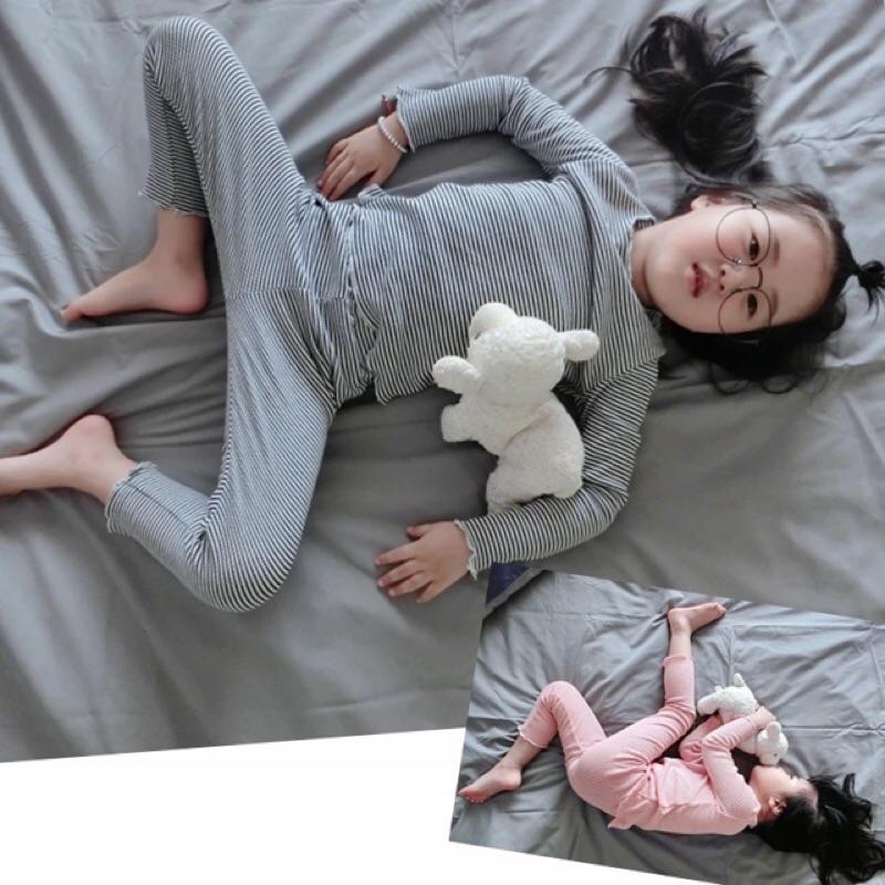 女童男童兒童寶寶兩件式螺紋棉條紋捲邊長袖圓領T 恤上衣長褲居家服套裝