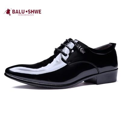 尖頭皮鞋男士 潮流商務正裝簡約黑色係帶青少年內增高英倫婚鞋