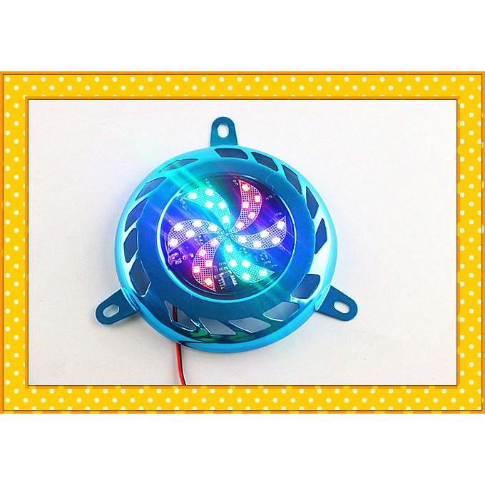 摩托車風扇罩帶燈爆閃機車風葉蓋電12V 孔11 公分機車風葉燈