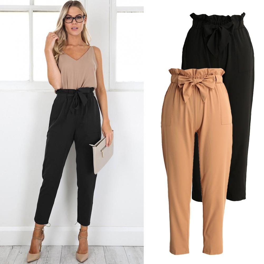 女裝 哈倫褲九分褲彈性腰圍兩側口袋純色 配腰帶 百搭寬松長褲