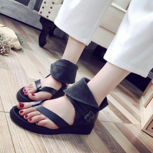 涼鞋女2016  平底夾趾 百搭學生舒適中跟休閒女鞋潮