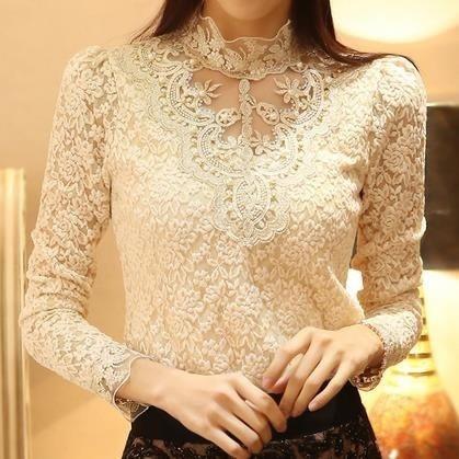 女士鉤針編織襯衫蕾絲雪紡襯衫