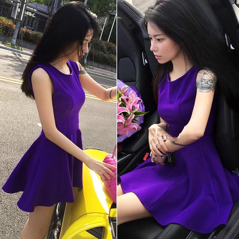 2016  韓系 氣質彈力大擺背心裙子高腰顯瘦紫色連衣裙女