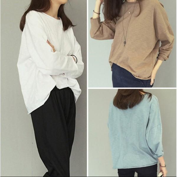 2016 秋裝 簡約捲邊竹節棉長袖T 寬鬆學生顯瘦休閒打底衫