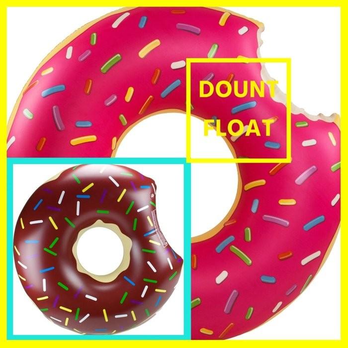 ~ 加大款~超大甜甜圈泳圈 同步超大電動充氣機加厚充氣游泳圈救生圈海灘沙灘充氣船氣墊漂浮床
