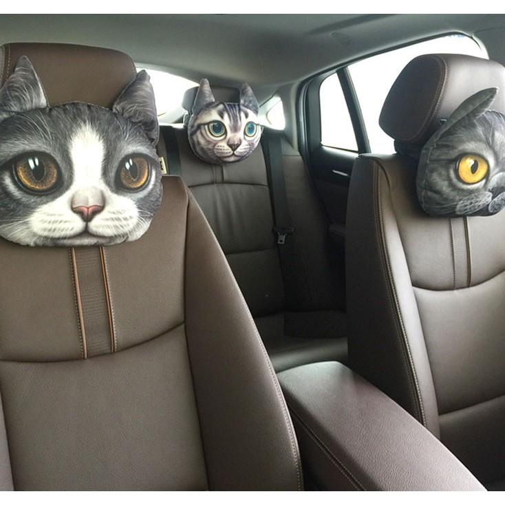 ~小樣子~C 萌喵星人汪星人毛孩子貓咪小狗3D 寫真可愛活性碳汽車枕抱枕護頸枕嬰兒車推車靠