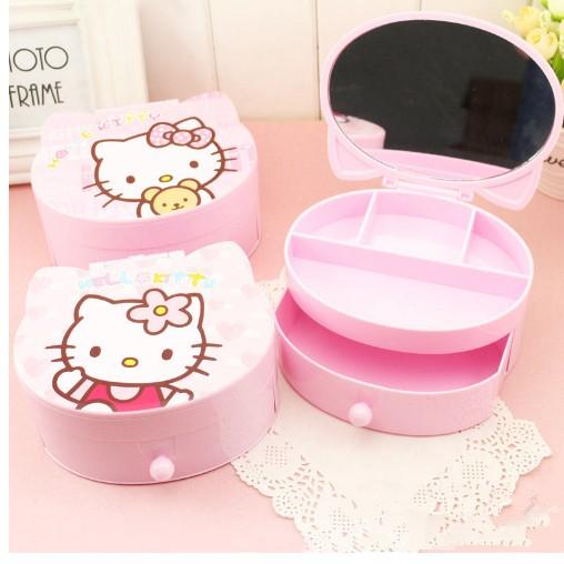 Hello Kitty 的雙層KT 貓 收納盒首飾盒飾品盒