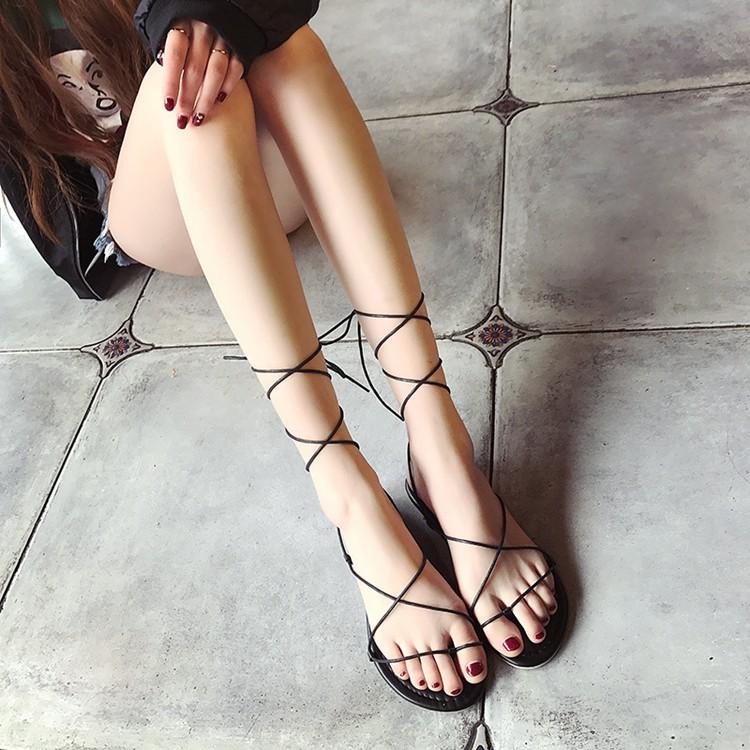 2017  交叉綁帶平底羅馬涼鞋子露趾女式夾腳簡約學生系帶潮