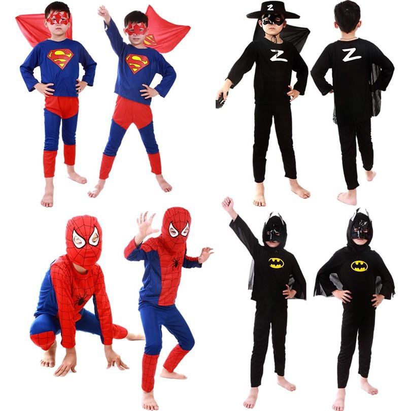 _ 兒童超人蝙蝠俠套裝超級英雄蜘蛛俠服裝