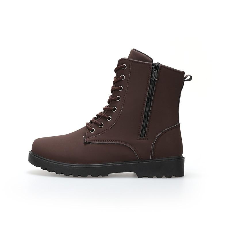 男士靴子 潮靴加絨男靴厚底中筒男靴保暖皮靴 馬丁靴男棉靴
