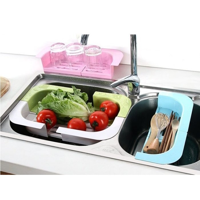 Color me ~S32 ~可伸縮水槽瀝水收納架碗碟瓜果瀝水架廚房用品塑料晾碗架置物架瓶