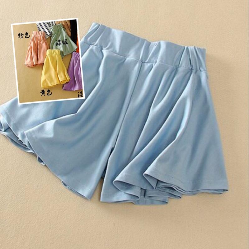 棉質鬆緊腰帶闊腿褲裙黃色粉膚色M L 可穿