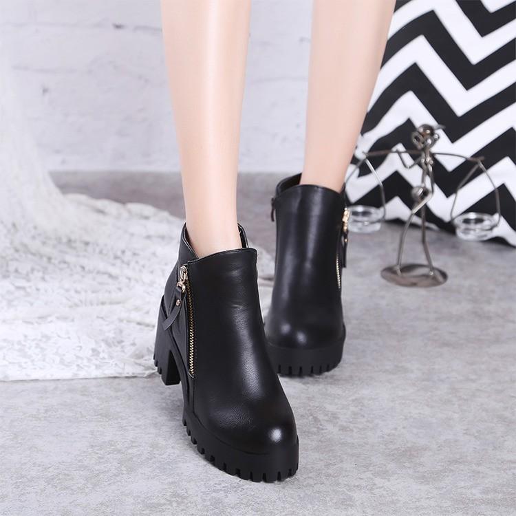 高跟鞋單鞋尖頭高跟鞋馬丁靴潮女短靴春 真皮及踝靴中跟粗跟短靴加絨 女靴防水臺