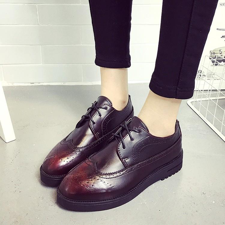 英倫風復古牛津鞋厚底系帶布洛克單鞋平底小皮鞋女 女鞋潮