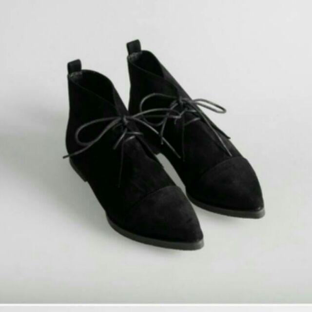 潮流韓式女鞋尖頭 繫帶靴