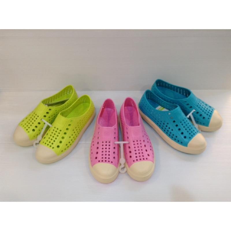 防水洞洞奶油頭包鞋膠鞋懶人鞋小腳男女大童適穿情侶款( 黑藍男款尺寸)加大