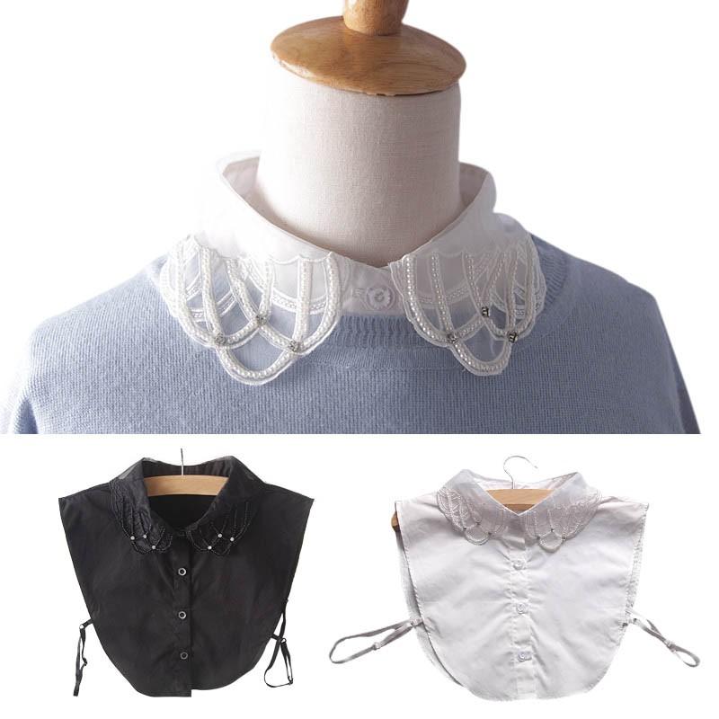❤❤100  假領子短襯衫釘珍珠百搭甜美 氣質OL 黑白裝飾大學T 毛衣領YE0044