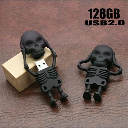 128G 随身碟電腦128G 優盤 迷你高速骷髏頭金屬USB 防水車載商務 U disk