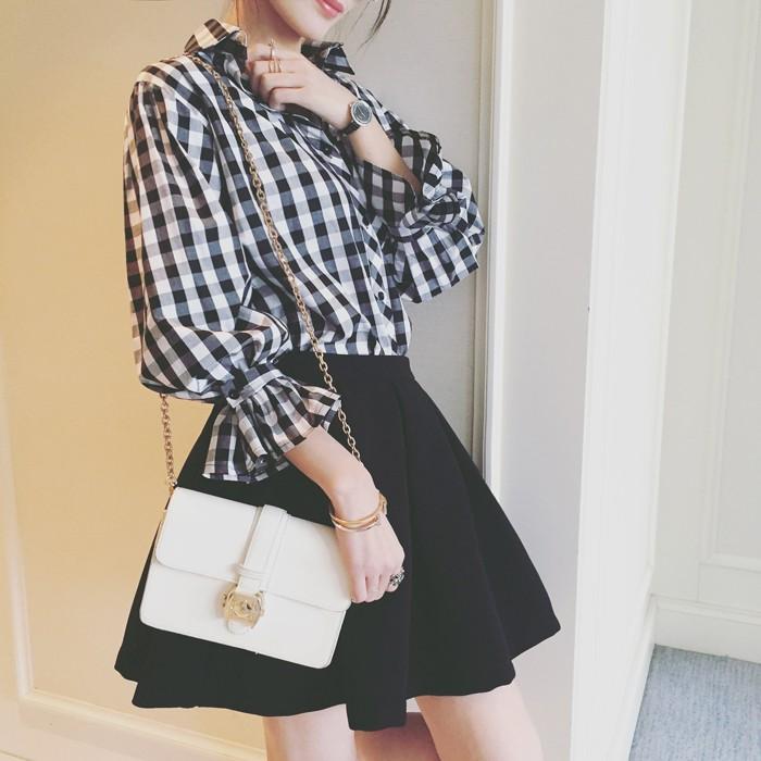 女裝 燈籠喇叭袖格子襯衫學生寬鬆顯瘦休閒百搭襯衣潮