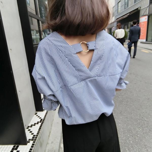 ☁☁7 彩衣櫃☁☁ 韓范金屬扣V 領露背寬松顯瘦藍白豎條紋棉麻短袖襯衫女素t 版蕾絲格子襯