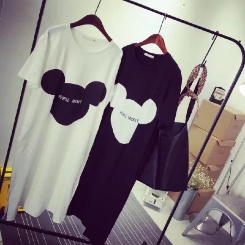 滿99  衝量 韓風寬鬆顯瘦bf 風加長短袖T 恤米奇中長版T 恤裙長版T