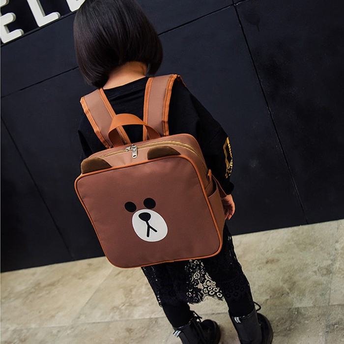 韓國可愛布朗熊方形雙肩包卡通動漫學生背包帆布書包