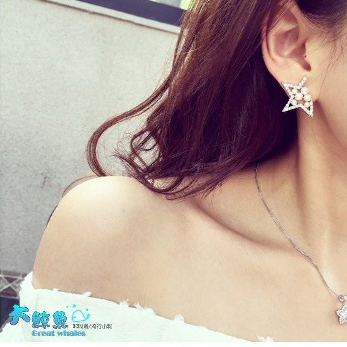 韓國連線氣質甜美微鑲水鑽珍珠星星耳環 正韓劇發燒飾品手鍊耳針耳骨夾~大鯨魚~NO7152