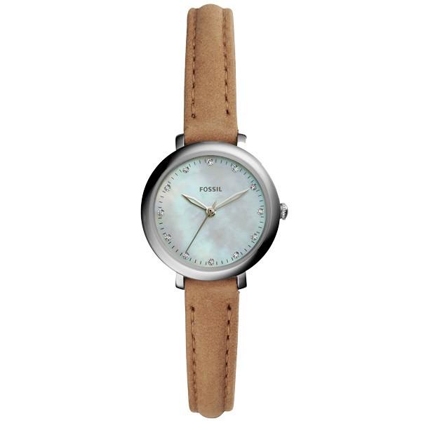 ~FOSSIL ~Jacqueline Mini 簡約珍珠貝腕錶卡其錶帶晶鑽刻度27mm