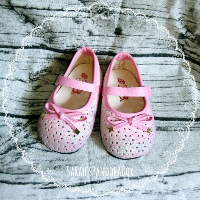 女寶14 5cm 可愛亮片粉色蝴蝶結娃娃鞋平底鞋
