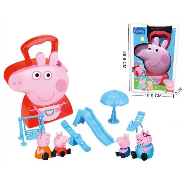 粉色粉紅豬小妹粉紅小豬佩佩豬收納盒套裝內容 過家家套裝