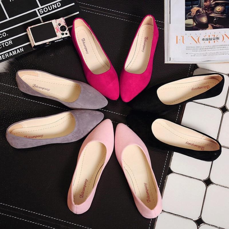 四色 平底鞋尖頭淺口平跟布單鞋女