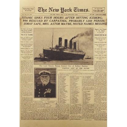 超正紐約時報~鐵達尼沉船頭版~復古風格51 35 cm 大尺寸牛皮紙海報