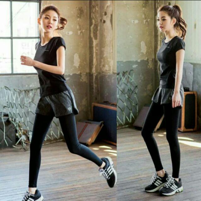 2016 夏秋 套裝假兩件彈力緊身健身服女速乾跑步瑜伽服休閒長褲