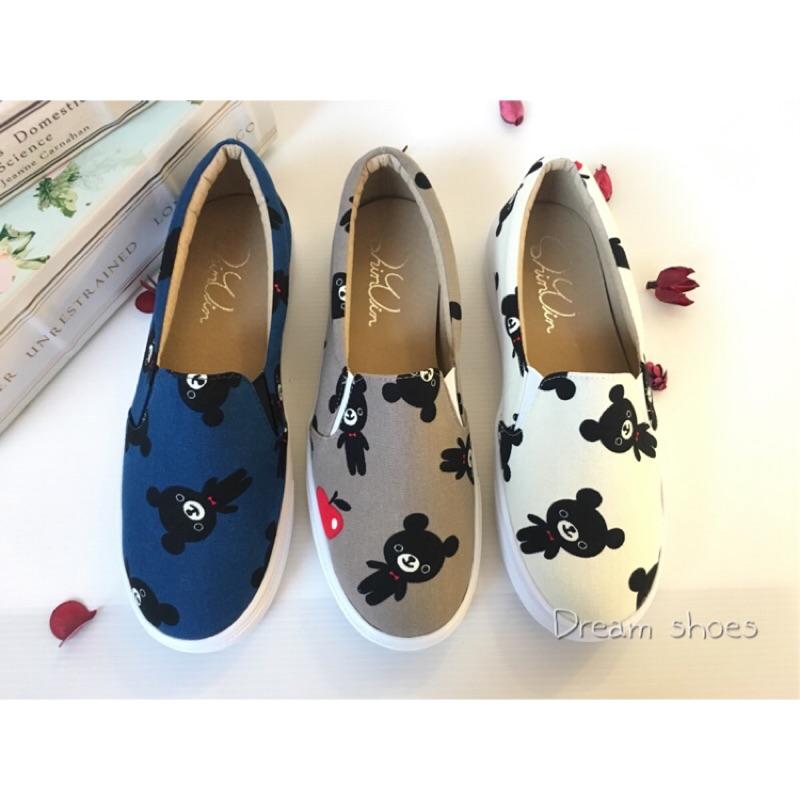 價300 風靡少女心好穿不咬腳~出遊 熊本熊黑熊懶人鞋娃娃鞋休閒鞋帆布鞋