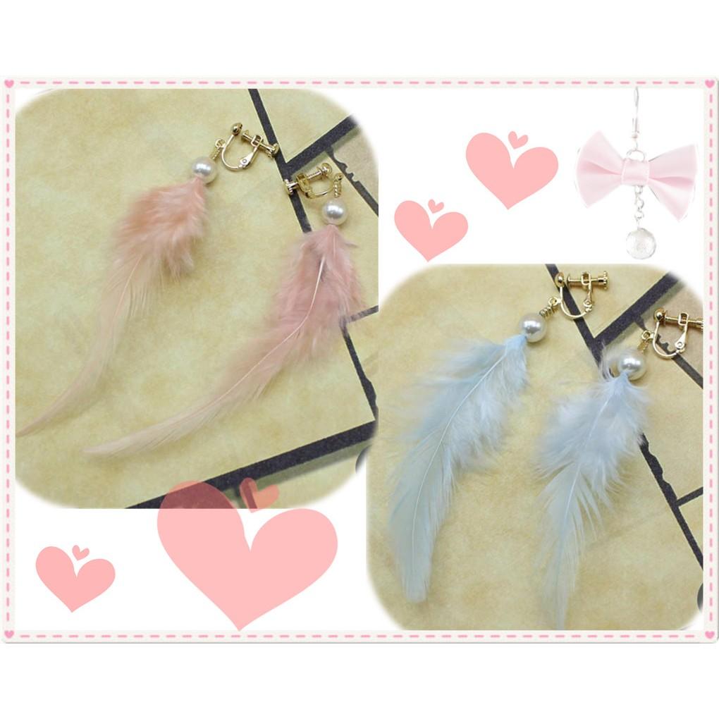 IvyBaby 實品拍攝浪漫甜美日系少女風格夢幻萌系輕柔羽毛高雅珍珠古典夾式耳環 附包裝盒