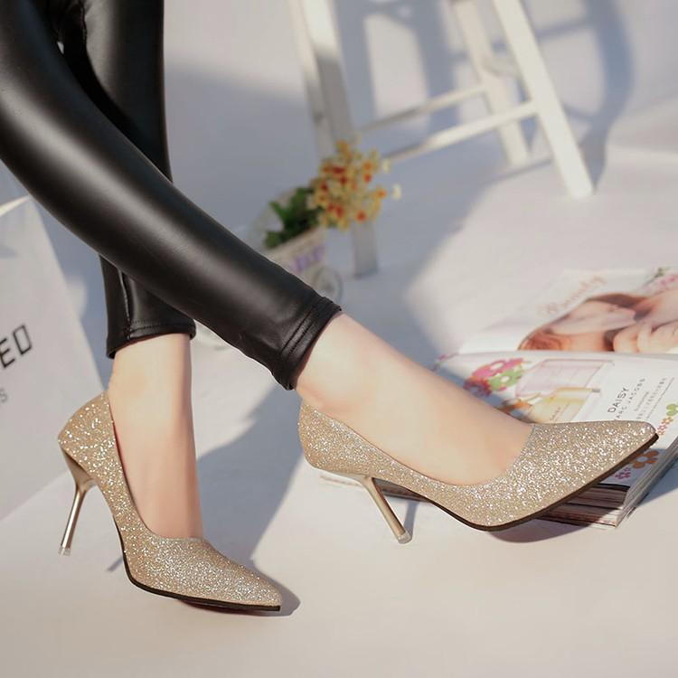 款女鞋尖頭高跟鞋細跟淺口真皮單鞋淑女性感亮片銀色新娘婚鞋